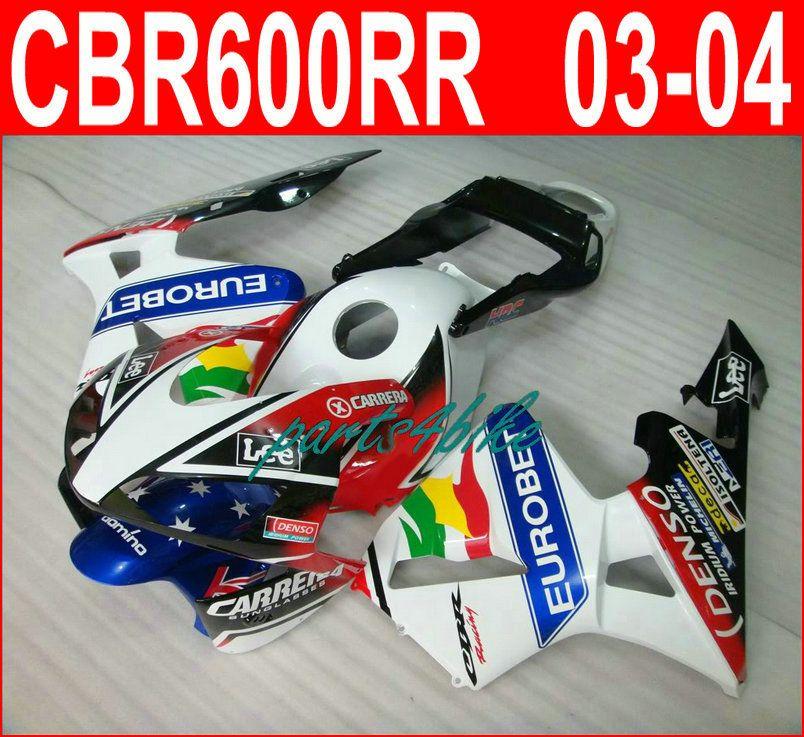 EUROBET white blue bodykit for Honda fairings CBR600RR 2003 2006 CBR 600RR 03 04 fairing kit CBR 600 RR VOSE