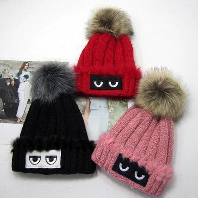 Olho de Impressão Quente Malha de Esqui Das Mulheres Beanie Ball Lã Cuff Hat Ski Cap Frete Grátis