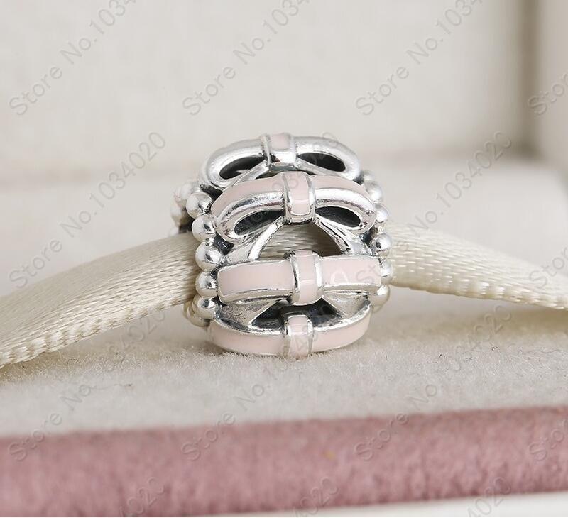 Bowknot Roze Emaille Charm Bead 925 Kerst Sweet Charms Economische Winter DIY Merk Fijne Sieraden Armbanden Gevoelens Arc