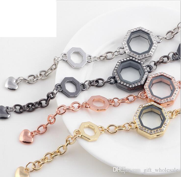 4 COLORI 24mm poligono geometrico vetro magnetico galleggiante medaglione braccialetto + strass all'ingrosso braccialetti di modo braccialetti 10 pz / lotto