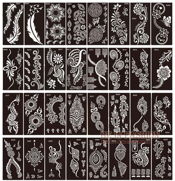50pcs / lot pochoirs de tatouage au henné pour la peinture art corporel paillettes modèles de gabarit tatoo sur pieds de la main indien arabe conçoit des feuilles