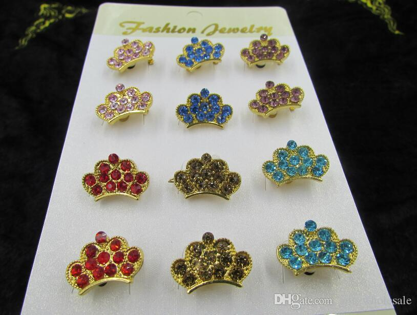 Free Shipping Cheap Costume Jewelry Rhinestone Crown Brooch Wholesale King Crystal Brooch Pins for Women 12pcs/set