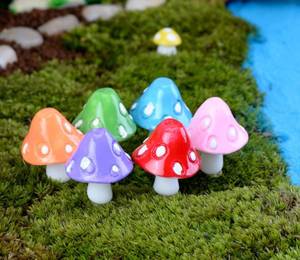 20pcs mushroom miniature fairy figurines garden gnomes decoracion jardin mushroom garden ornaments resin craft Micro Landscape