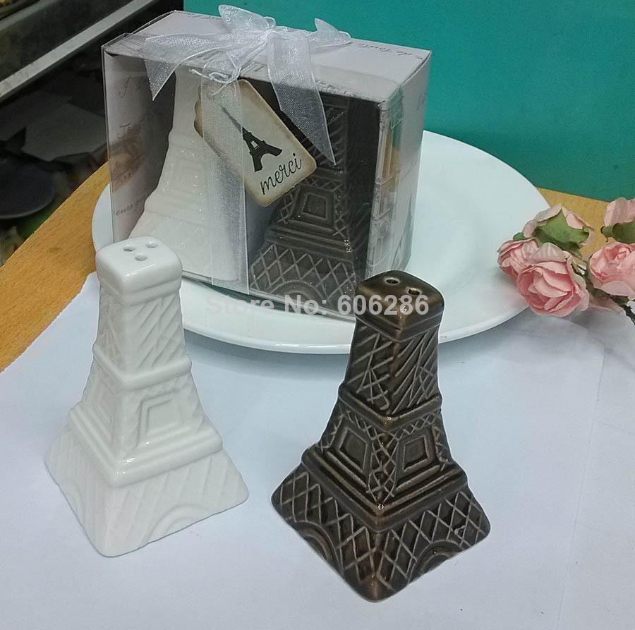 Más reciente Torre Eiffel Cerámica Saleros y pimenteros Favores de boda y suministros para fiestas de eventos 60PCS (30SETS) / LOT