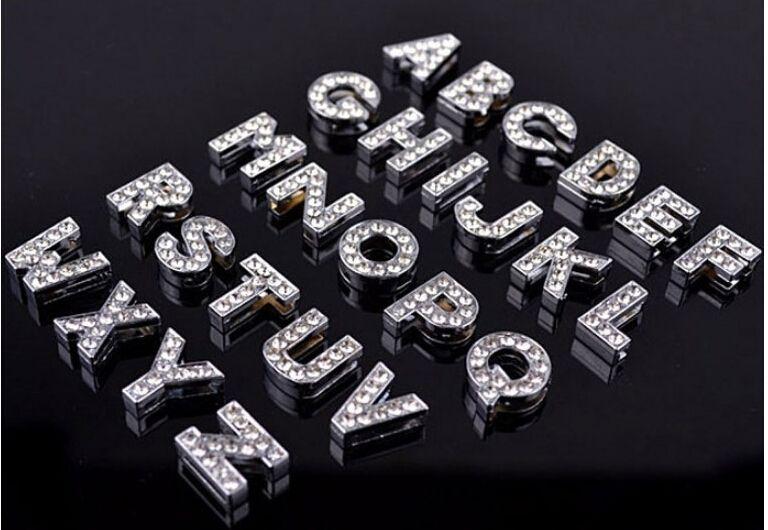 (500 piezas / lote) 8 mm / 10 mm A-Z letras de diamantes de imitación para el nombre de DIY MET! DIY DOG CAT PET COLLAR DE PET Slide letras