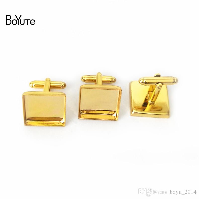BoYuTe 20 Pcs 6 Colors Plated 16 MM 18MM 20MM 25MM Square Cufflink Blanks Diy Cufflink Base Setting Jewelry Findings Components