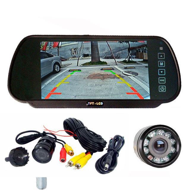 ليلة الرؤية LED 9 عكس الكاميرا 135 درجة زاوية واسعة + 7 شاشات الكريستال السائل مرآة سيارة الرؤية الخلفية نظام المساعدة وقوف السيارات