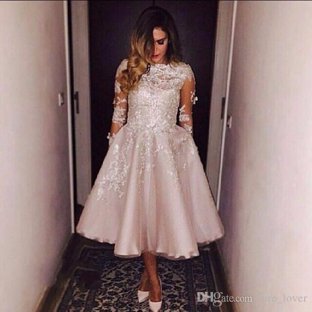 Günstige 2019 Prom Kleider Pink Lace Plus Size Partykleid mit Kristallen Long Sleeves Tee Länge Abendkleider Abendgarderobe Sexy