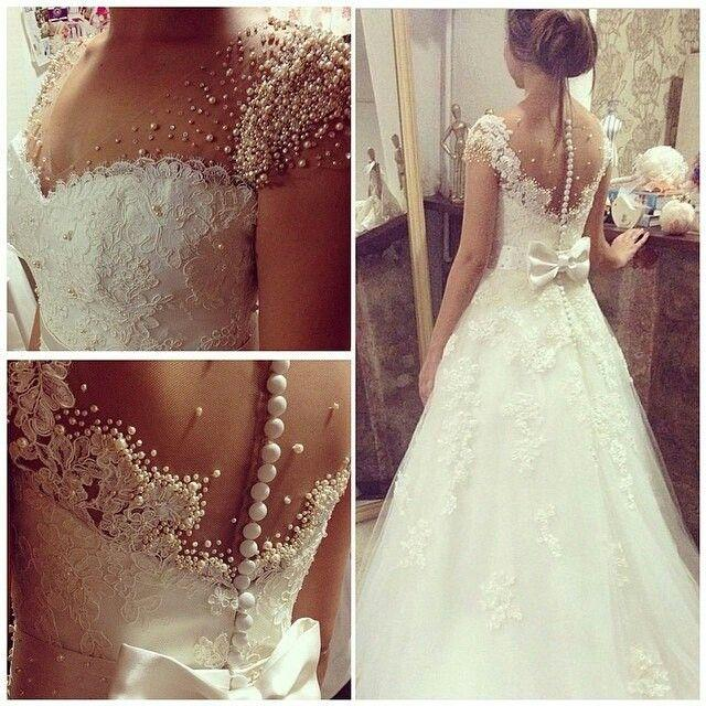 2015 Custom Made Plus Size Wedding Dresses with Sleeves Luxury Pearl Crystals Sheer V Neck Illusion Back Covered Buttons Bow Bridal Gowns