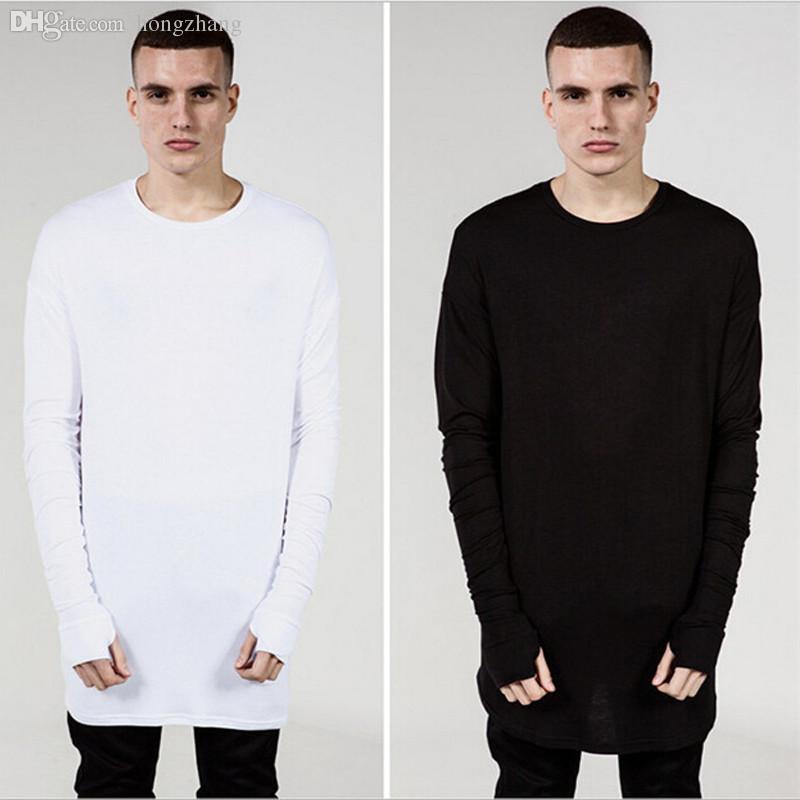 T-shirt à manches longues surdimensionné Hip Hop noir blanc gris laine T-shirt