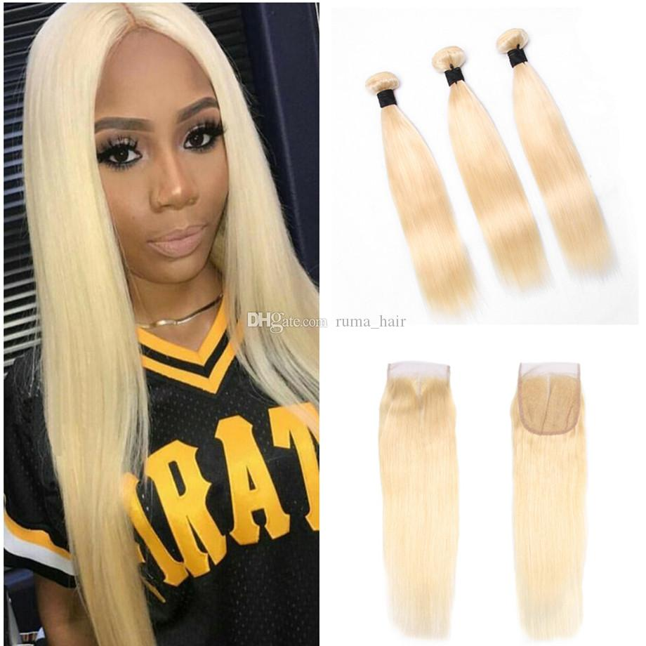 613 Color Straight Human Hair 10-30Inch Malaysian Virgin Hair Bundles With Lace Closure Platinum Blonde Silk Striaght Hair With Closure