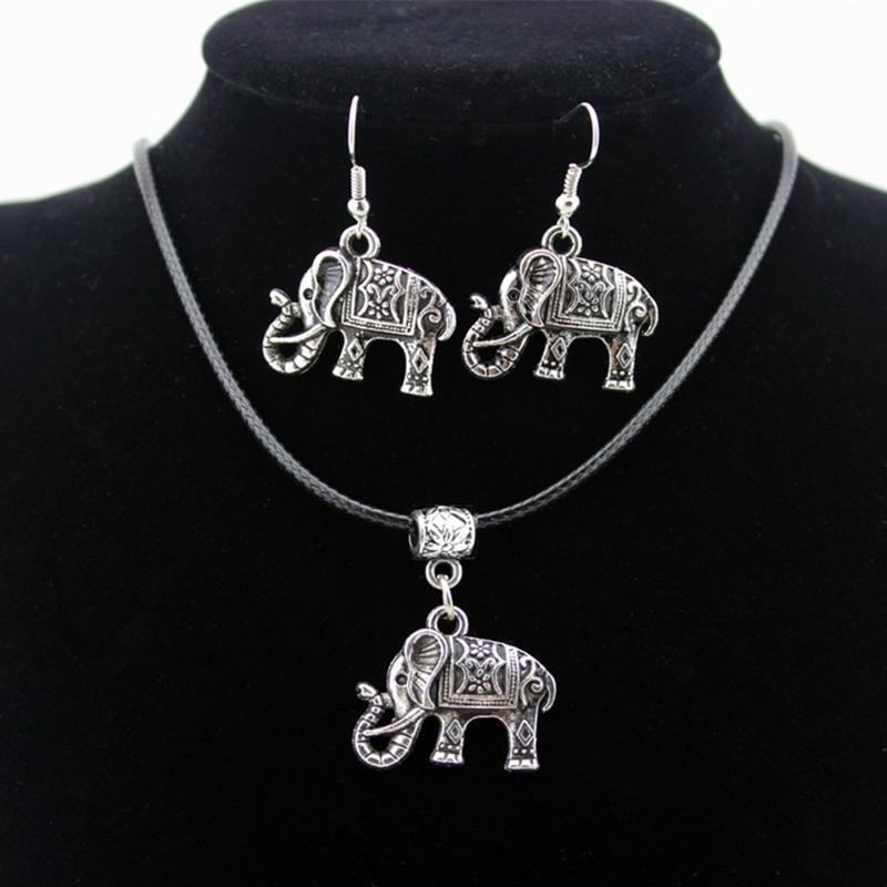 Commercio all'ingrosso 12 set / lotto Tibetan argento bella collana ciondolo elefante elefanti fortunati ciondola gli orecchini set di gioielli da donna ragazza TZ24