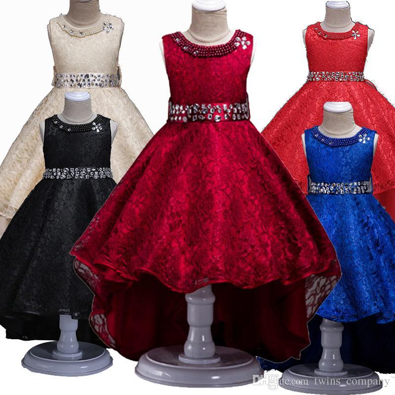 High-End European Girls Hochzeit Abendkleider Kleider Kinder Party Spitze Schärpen Prinzessin Tutu Trailing Kinder Kleid