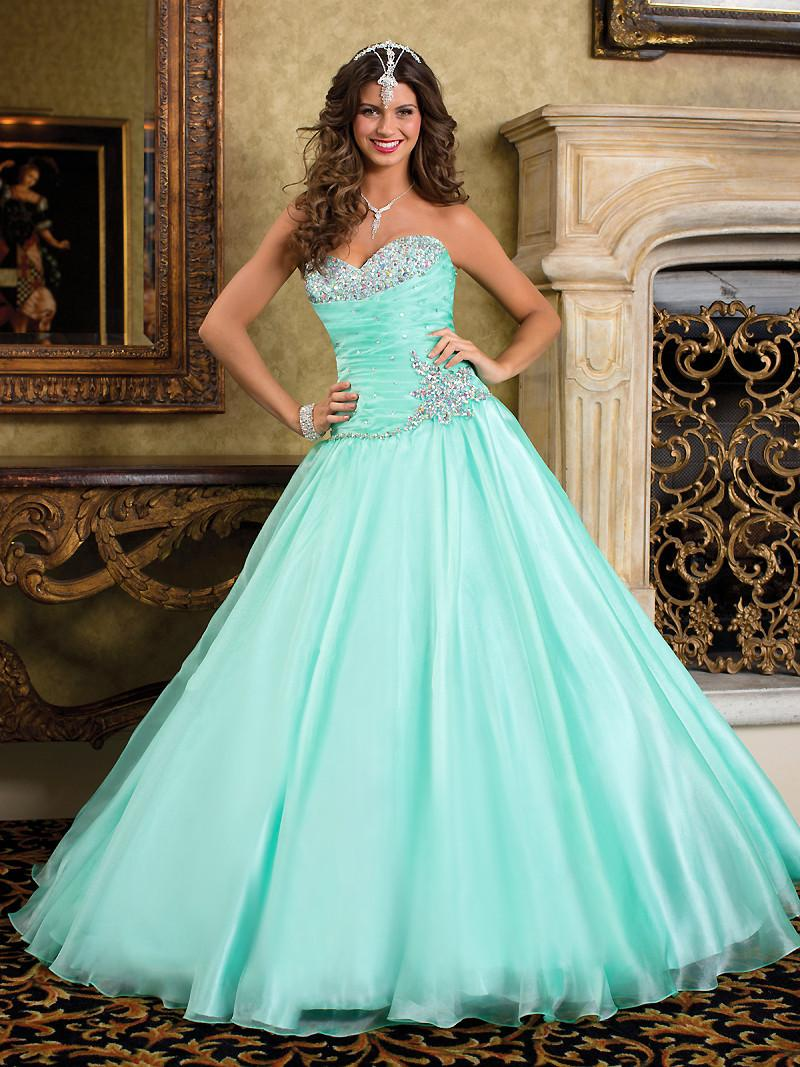 2015 Prom Dresses Wedding Ball Gowns Sweetheart Ruched Organza A ...