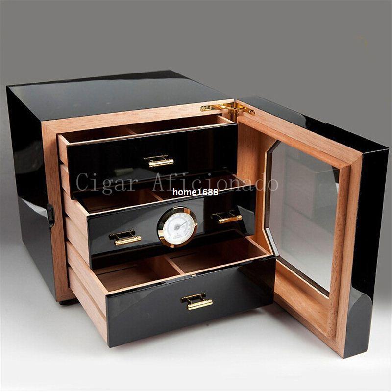 COHIBA Luxury Black High Glossy Piano Finish Cedar Wood Cigar Cabinet Humidor Storage Box W/ 3 Drawers Hygrometer Humidifier