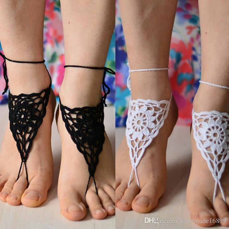 1 Pair OR 2 PCS footless sandles beach wedding shoes yoga nude sandal crochet foot jewelry feet accessory bridesmaid foot thong