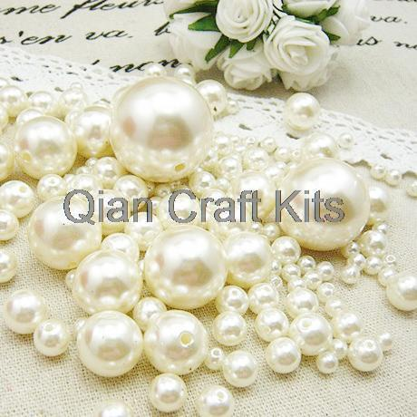 1000pcs mixed sizes 4mm-14mm Ivory or white Pearls Faux Imitation Plastic Beads Wedding Centerpiece Vase Filler decor Jewelry