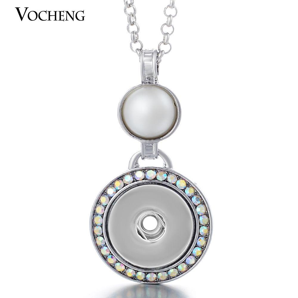 Vocheng noosa جولة شكل اللؤلؤ المعلقات 18 ملليمتر التقط سحر قلادة الزنجبيل الطقات قلادة مجوهرات مع المقاوم للصدأ سلسلة NN-062