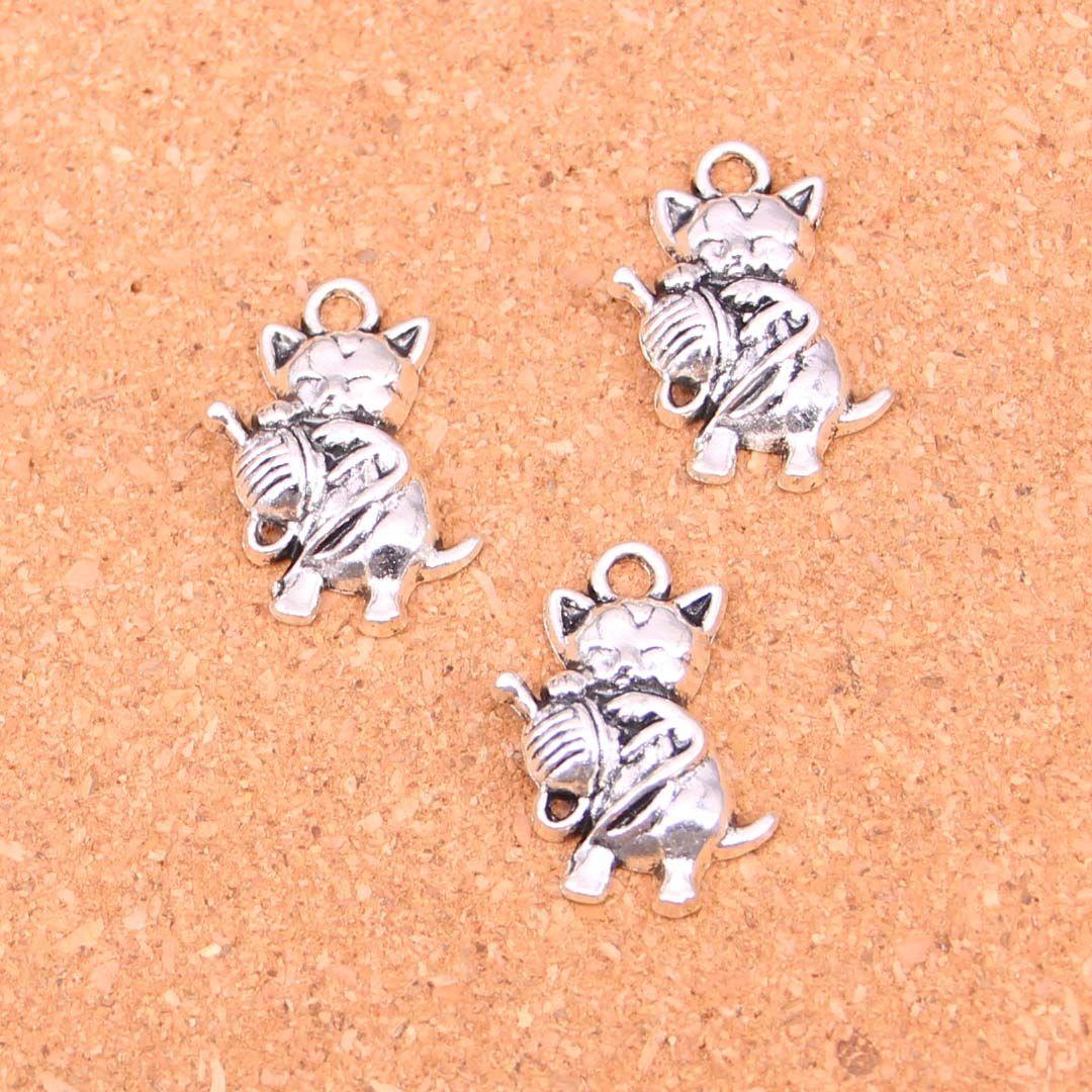 48pcs Charms cat ball,Antique Making pendant fit,Vintage Tibetan Silver,jewelry DIY bracelet necklace 25*15mm