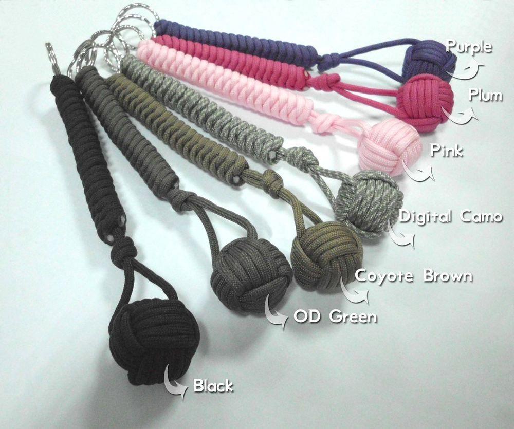 شحن مجاني 550 Paracord الدفاع عن النفس القرد قبضة سلسلة المفاتيح الكرة المعادن الأساسية الحبل