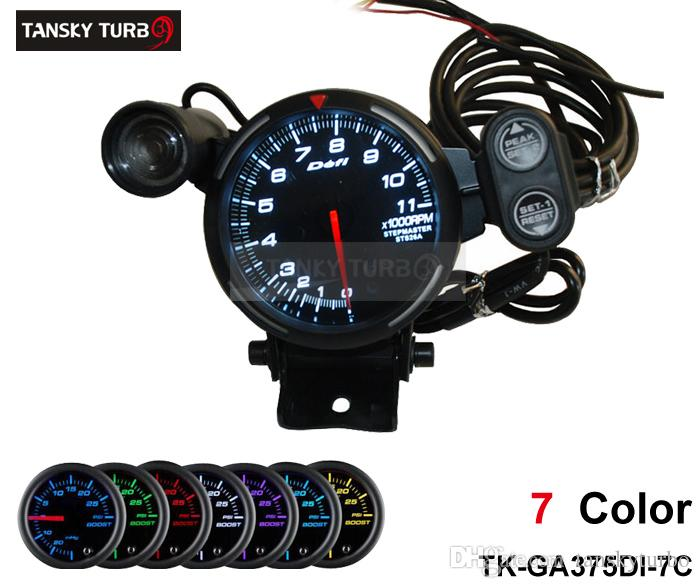 """Tansky - Evrensel Metre / Ölçer Defi 3.75 """"7 renk ayarları STEPPER MOTOR TACHOMETER / ARABA METRE / OTOMATİK ÖLÇÜ TK-GA375DI-7CC"""