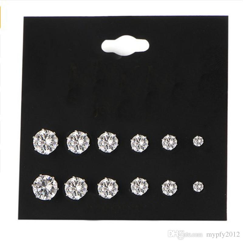 Hot Sale White Black Crystal Stud Earrings For Women Girls New FashionZircon Four Claw Stud Earring 6 Pairs /Pack Wedding Gifts