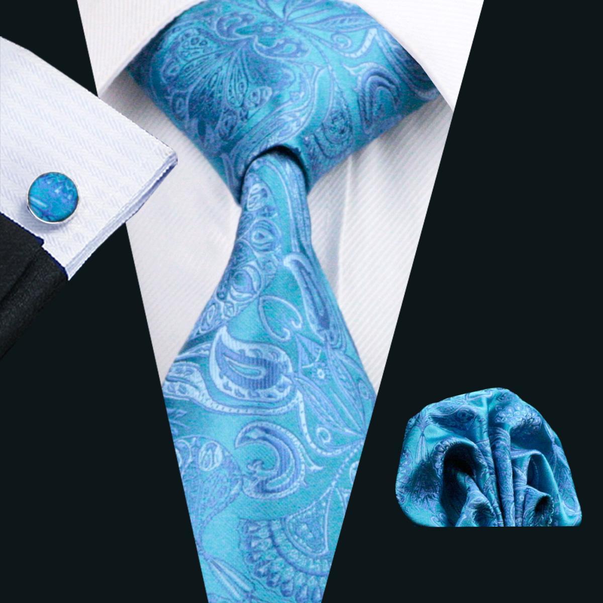 세련 된 블루 Paisely 망 넥타이 세트 행 커 커 프 스 단추 세트 자 카드 짠 망 실크 넥타이 설정 레저 비즈니스 작업 공식적인 결혼식 N-0368