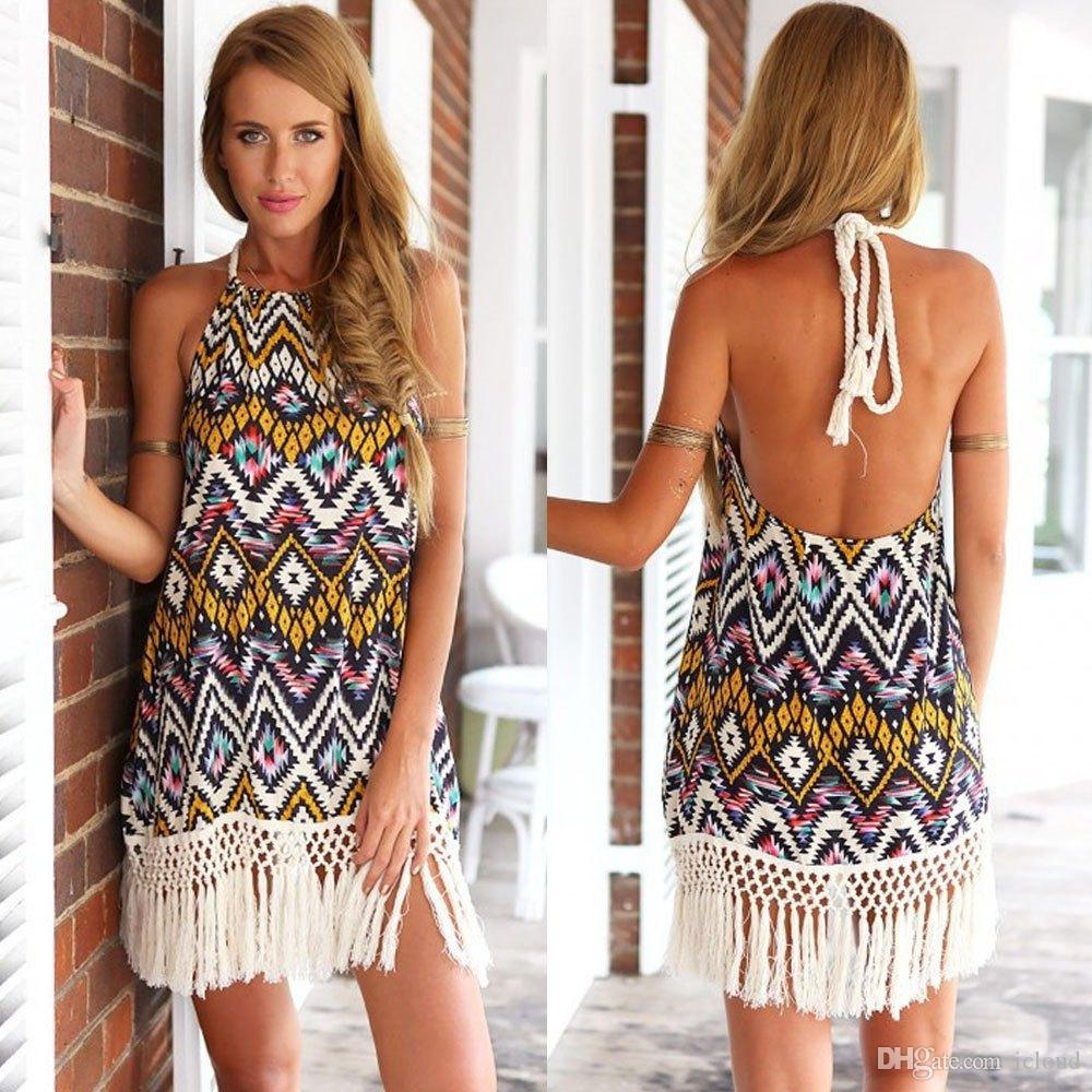 New Fashion Style Sun Beach Dresses Vestidos Femininos Boho Tribal ...