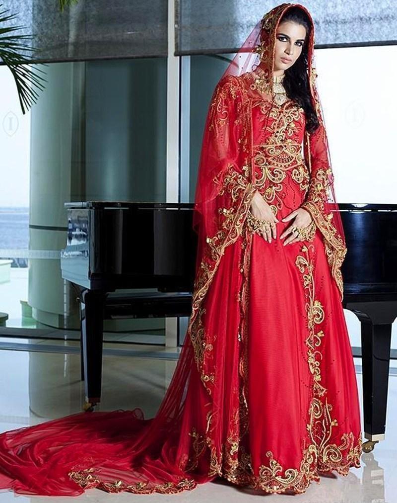 Charming Dubai Red Muslim Dress Gold Applliuqes Evening Dresses Long ...