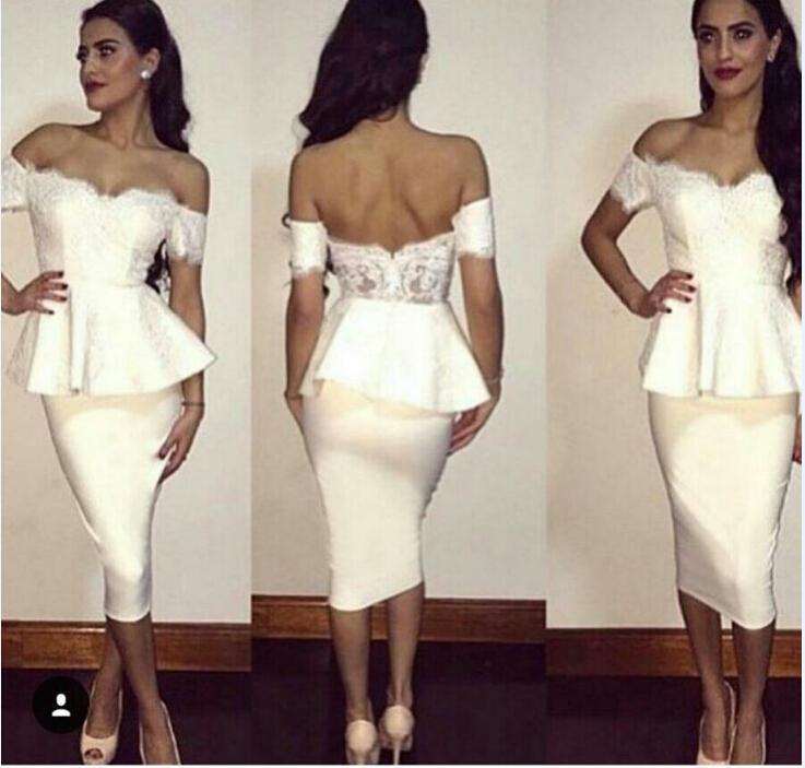 2019 Durée de thé longueur robes de cocktail courtes blancs épaule manches courtes dentelle ouverte arrière-plan robe gaine robe arabe sur mesure