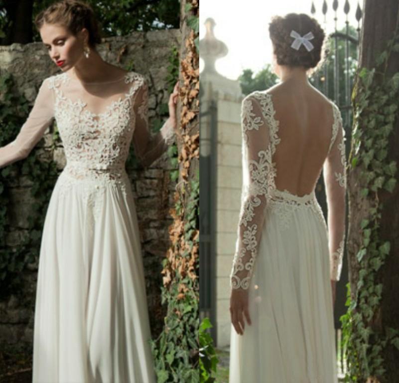 Long Sleeves Winter Wedding Dresses 2015 Bohemian Lace Chiffon Vintage Illusion Plus Size Wedding Dresses Bridal Gowns Custom Made Vintage Style