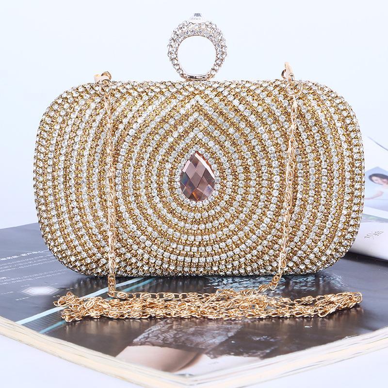 Fabbrica diretta / Retaill / All'ingrosso borsa da sera con diamante unico / clutch con raso / PU per matrimonio / banchetto / party / porm