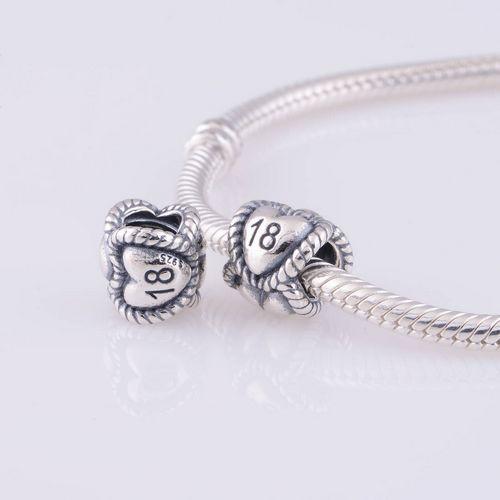 Passt Pandora Original Charms Armband 925 Sterling Silber Bead Herz Nummer 18 Europäischen Charme DIY Schmuckzubehör Großhandel