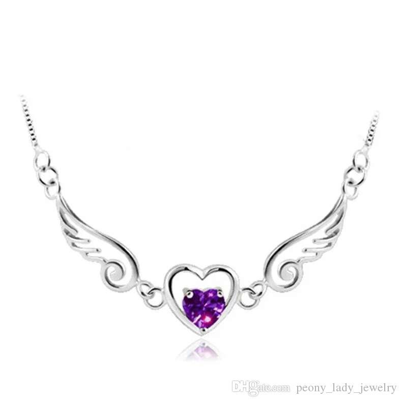 925 zilveren verklaring kettingen engelen vleugels kristallen sieraden bruiloft vintage charmes liefde hart ketting voor vrouw