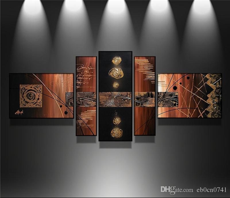 100% Handgemaltes Modernes Wandkunst-abstraktes handgemachtes Ölgemälde auf Segeltuchwandkunstbild 5 PC- / Satzwohnzimmerdekoration