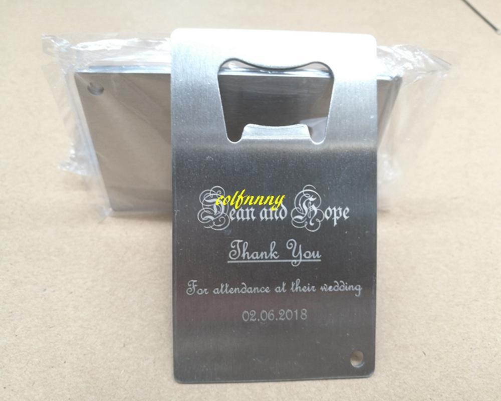 100pcs / lot 로고를 사용자 정의 할 수 있습니다 스테인레스 스틸 신용 카드 병 오프너 지갑 크기 명함 맥주 오프너