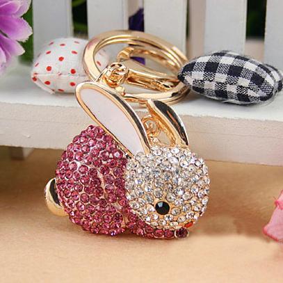Drop shipping, Full Rhinestone Animal Keyring,Cute Rabbit Keychain ,Purse/handbag Charms /accessory, nice gift,Alloy Crystal Keyring