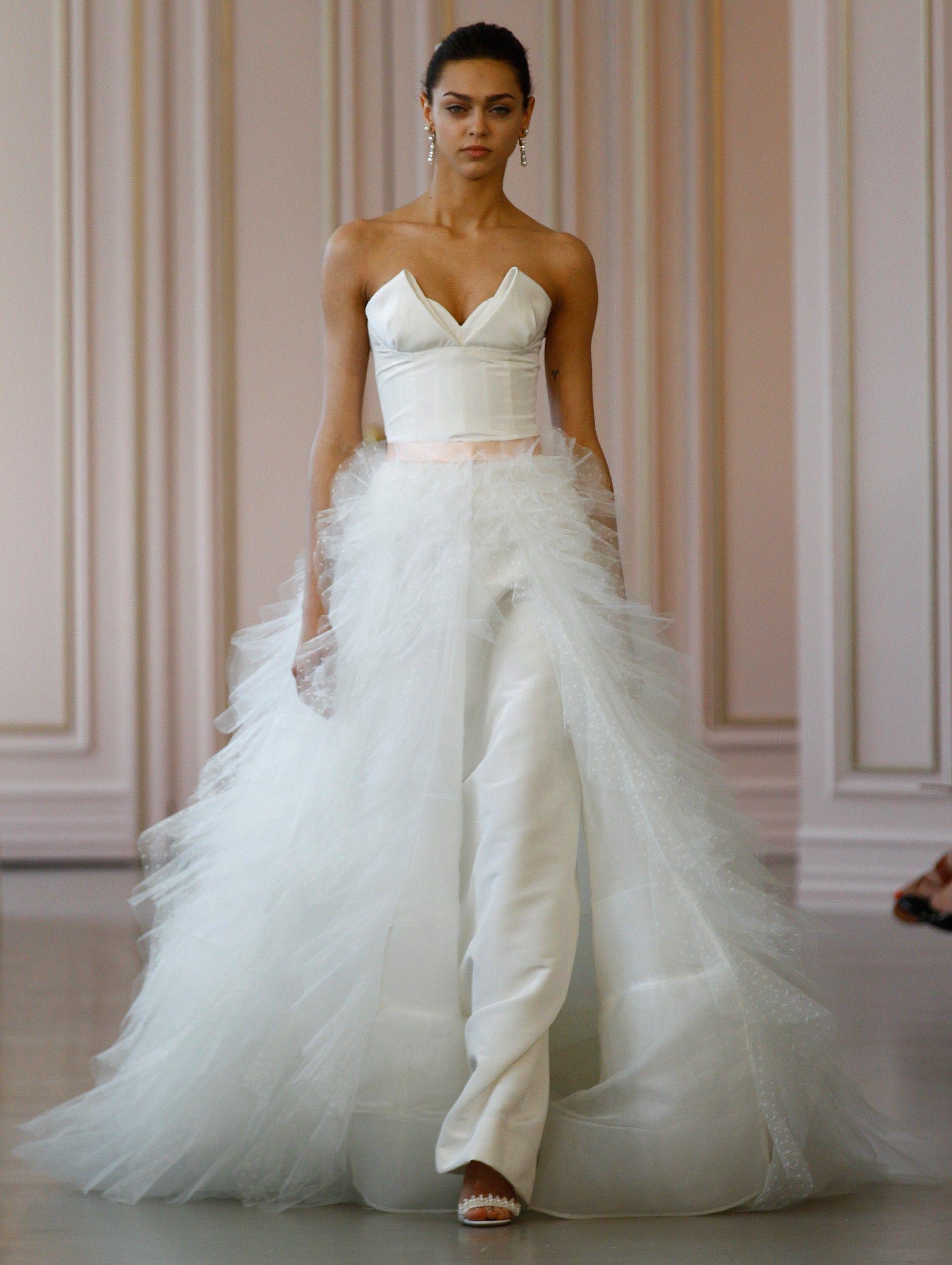 detachable train wedding dresses 2017 pantsuit ruffle tulle over ...