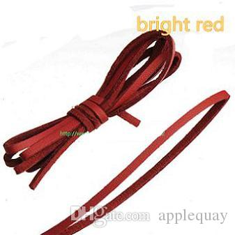 DIY Necklaces Choker Bracelets Rope 3mm Flat Leather Cords Single Velvets Pu Imitate Candy Color Dark Red Narrow Fashion Jewelery Parts 100m