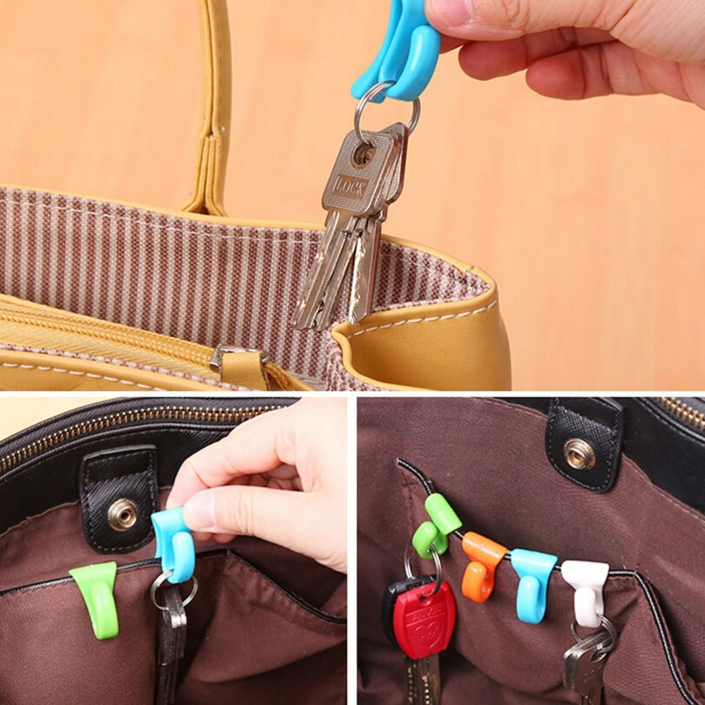 Wholesale- Plastic Mini Cute Creative Anti-lost Hook Within The Bag Key Storage Holder Rack Free Shipping 2 Pcs/set