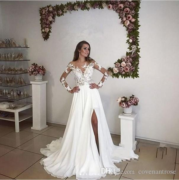 Romantic Illusion Split Wedding Dresses Long Sleeves Summer Bohemian 2018 New Sheer Appliqued Long Bridal Gowns Plus Size Maternity Dress Lace Fitted