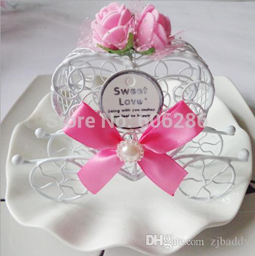 Romantic Fairy Tale Iron Carriage Sweet Love Wedding Candy Box Chocolate Boxes With Flower and Bow Accessories 200pcs wholesale