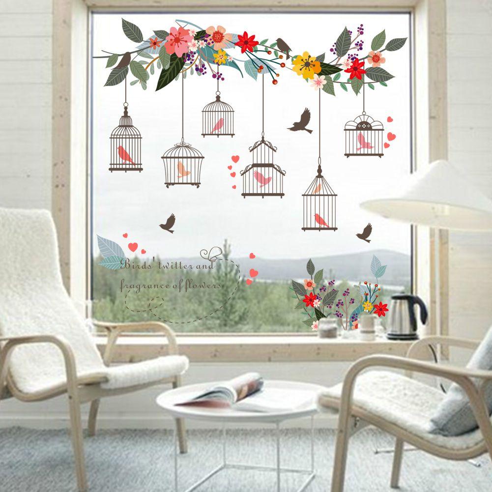 Stickers Pour Fenetre Chambre acheter coloré fleur oiseaux cage À oiseaux autocollant mural stickers art  mural pour la maison salon chambre tv fond jardin fenêtre décor de 2,33 €