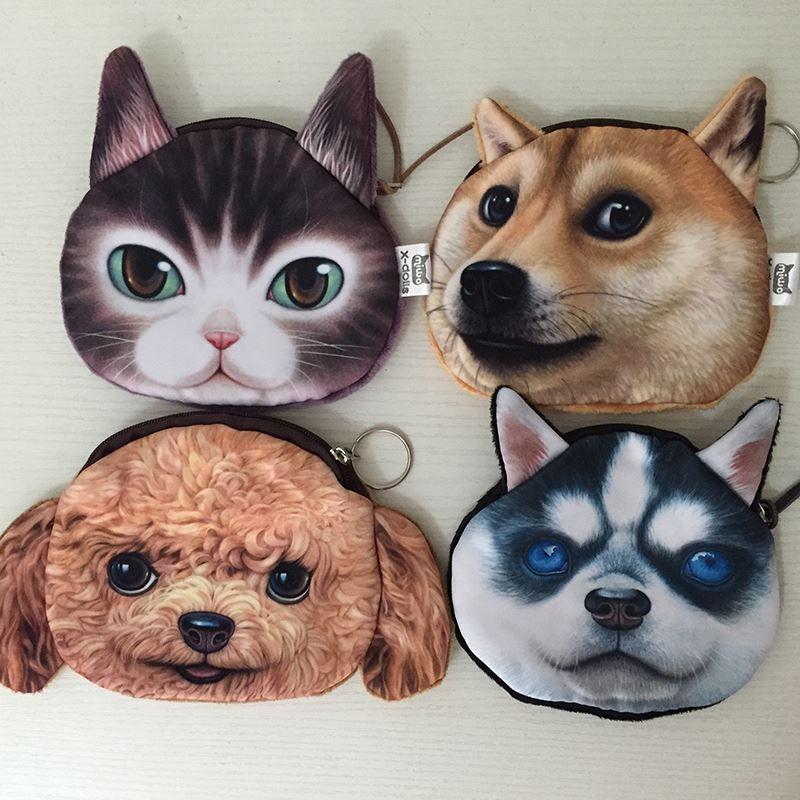 Портмоне дети милый кот собака лицо молния чехол монета дети кошелек 3D кошелек макияж сумка BHCU подарок