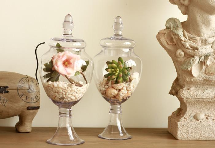 ... American retro transparent tall glass vase decoration furnishing  articles wedding candy jar sitting room decorate two ...