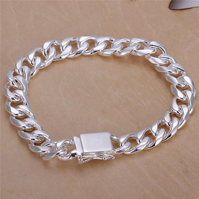 Fashion Men's Jewelry 925 sterling silver plated Figaro chain bracelet 10MMX20CM Top quality free shipping