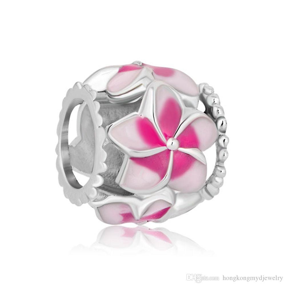 Día de San Valentín filigrana rosa flor esmalte encanto envío gratis rodio plateado perlas adapta Pandora Charm pulsera