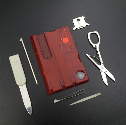 Оптовая! Открытый Отдых Инструменты Красоты Швейцария Карточный Нож со светодиодной подсветкой Multifuntion Карточный Нож 100 шт. / Лот
