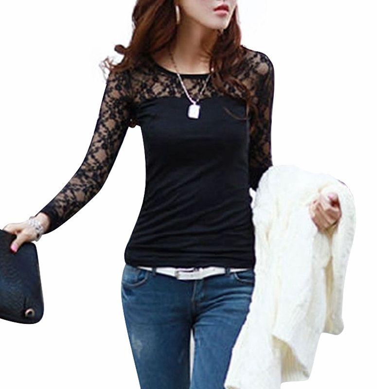도매 - Blusas Femininas 2015 봄 가을 여자 패션 섹시 슬림 셔츠 레이스 긴 소매 O-목 레저 블라우스 블랙 / 화이트 S-2XL 탑
