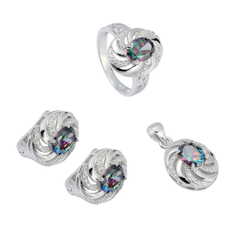 925 sterling zilveren promotie hart set (ring / earring / hanger) nobele genereuze S-3731Set SSZ # 6 7 8 9 Rainbow Fire Mystic Cubic Zirconia Punk